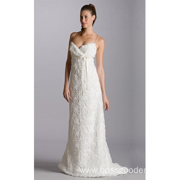 222Empire A-line V-neck Chapel Train Organza Belt Wedding Dress22222222222