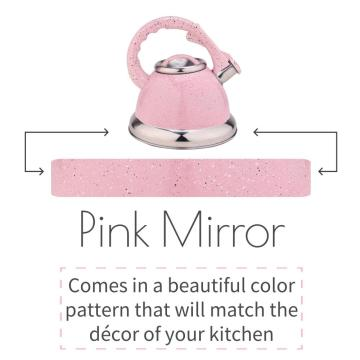 Pink Mirror Stainless Steel Whistling Stovetop Tea Kettle