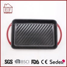 Square Enamel Cast Iron Grill Pan for Cooking