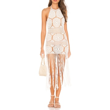 Halter Style Neckline Tassel Crochet Knit Dress