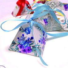 Pyramid Wedding Gift Candy Box with Ribbon