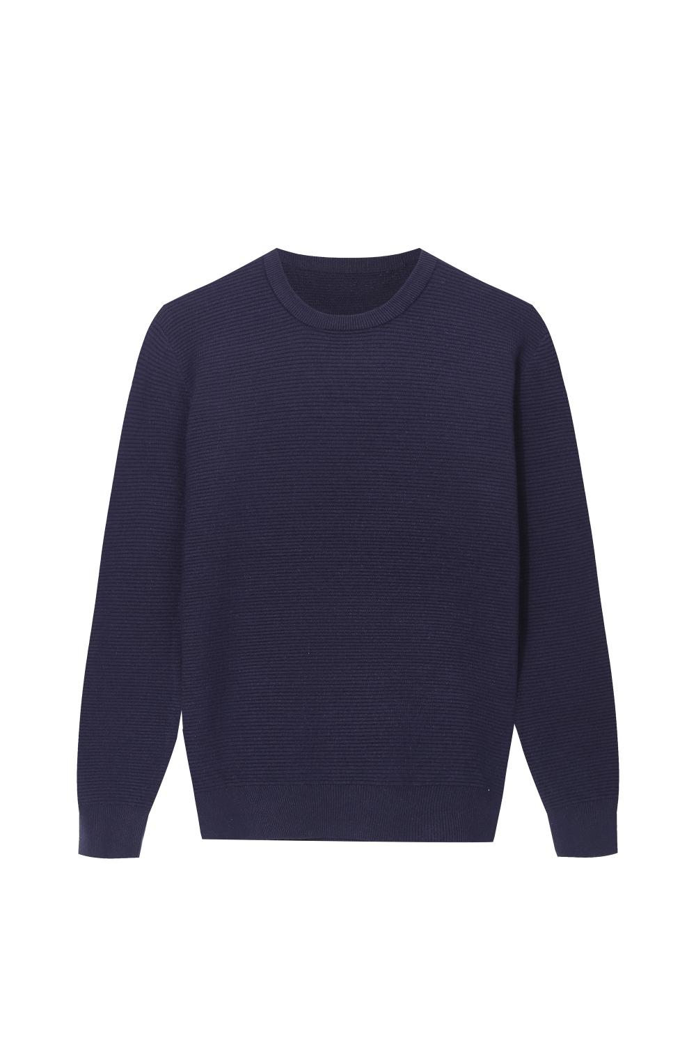 Men's Knitted Ottoman Stitch Crew-Neck Soft Pullover