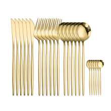 SPKLIFEY Gold Cutlery 24 Pcs Golden Cutlery Set Stainless Steel Dinnerware Set Spoon Set Tableware Forks Knives Spoons New