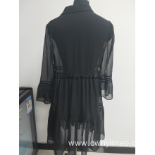 2020 Spring season chiffon dress black