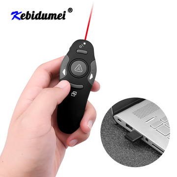 kebidumei Wireless Presenter With Laser Pointer Red Light RF Wireless Laser Pen 2.4GHz USB Remote Control For PPT Presentation