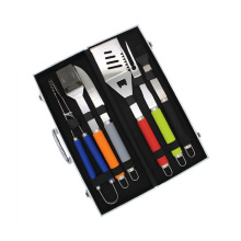 Colorful Plastic Handle Grilling Set With Aluminium Case