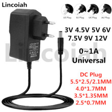 Lincoiah Power Adapter DC 3V 4.5V 5V 6V 7.5V 9V 12V AC100-240V Universal Converter Supply for LED Strip Light CCTV Camera