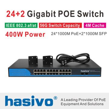 24 Ports POE Switch With 2 Gigabit SFP 24 PoE 2 SFP Ports Gigbit PoE Ethernet Network Switch 1000Mbps Rackmount