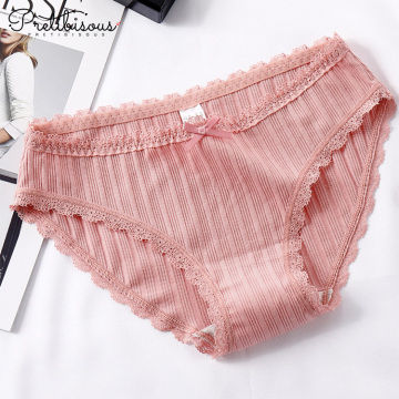 Fashion cotton briefs transparent lace panty for women