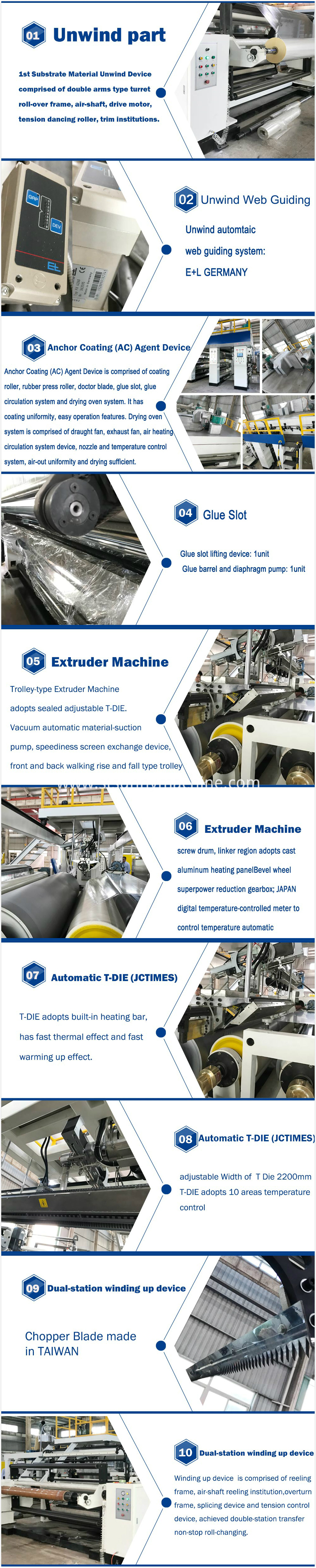 bopp thermal film extrusion coating machine