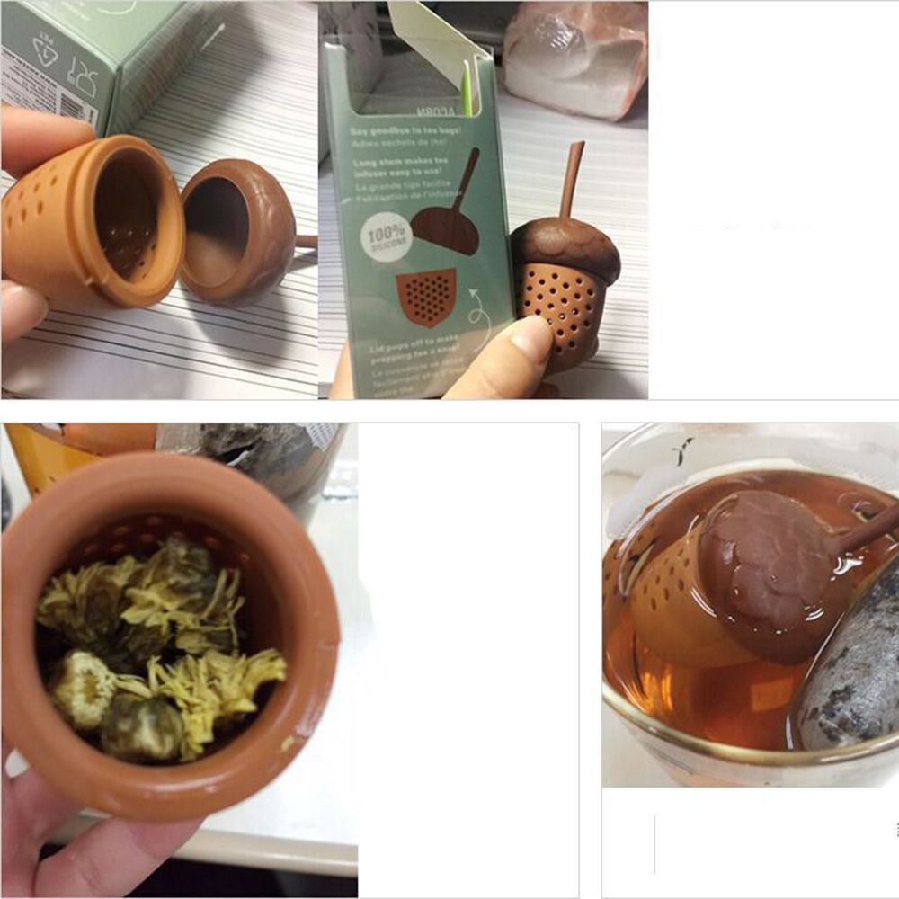 Acorn Mini Tea Strainer Picture Color Silicone Squirrel Acorn Shape Tea Infuser Loose Pine Nuts Tea Bag Strainer Herbal Tools