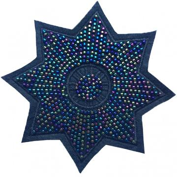 crystal handmade flower beaded star embroidery patches