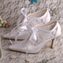 Pointed Toe Bridal Lace Shoes with Lace up