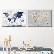 Cartoon Animal Map Lion Panda Nordic Posters And Prints Wall Art Canvas Painting Nursery Wall Pictures For Baby Kids Room Decor