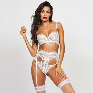 3pcs eyelash lace lingerie set with garter