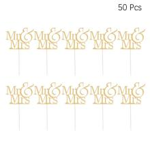 10 Pcs Cake Toppers Paper Glitter Mr & Mrs Printed Words Happy Birthday Cake Toppers Fruit Picks Dessert Table Decor Supplies