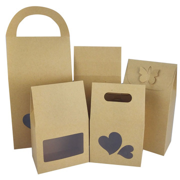 Clear Window Heart Shape Design Coated Paper Bag