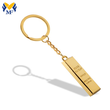 Customized ​Gold Bar Metal Keychain With Your Design