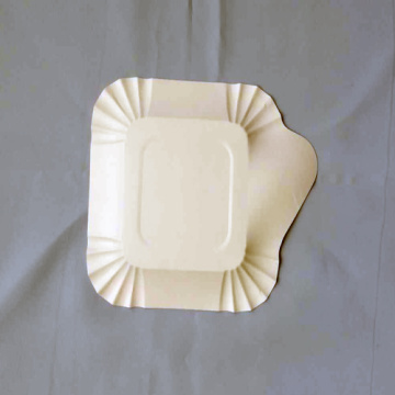 Small Square Paper Plates Embossed Design White
