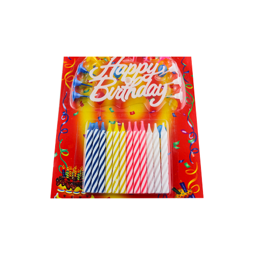 Happy Birthday Cake Long Burning Thin Pillar Candles