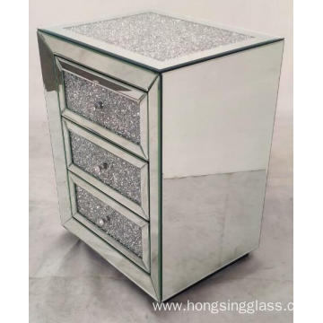 3 Drawer Mirrored Bedside Table Crushed Diamond