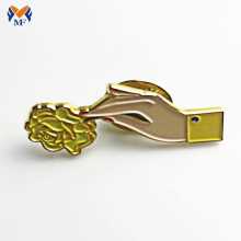 Fancy design metal finger pin badge for bags