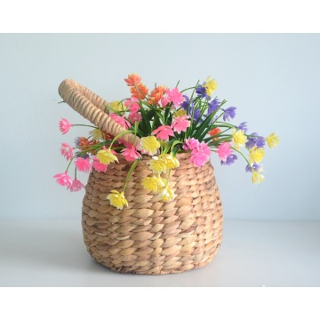 Round drum-like water hyacinth flower basket with handle