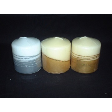 Handmade Unscented Pillar Candle with Metallic Finish