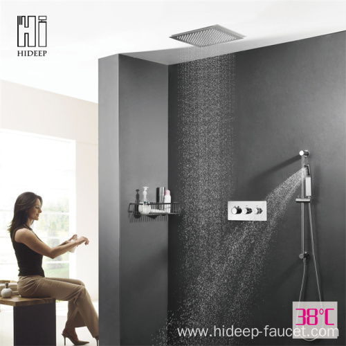 Wall Mounted Brass Thermostatic Rain Shower Faucet