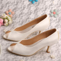 Private Label Open Toe Wedding Shoes Ivory