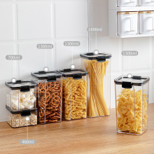 Airtight Food Storage Container Kitchen Dry Food Snacks Storage Organizer Almacenamiento Cocina Clear Plastic Jars Canisters