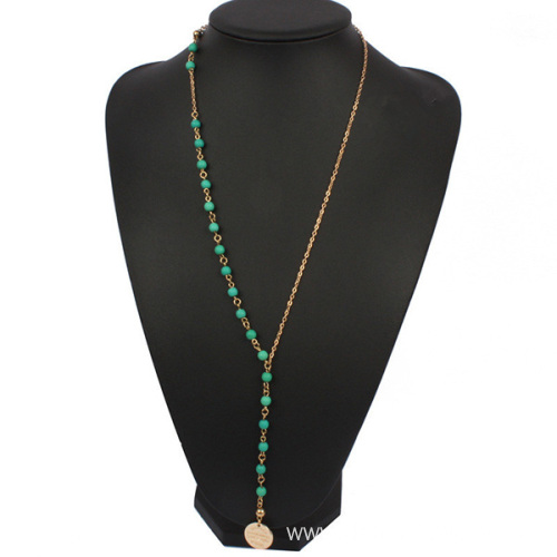 Turquoise Bead Long Gold Chain Necklace With Tiny Charm