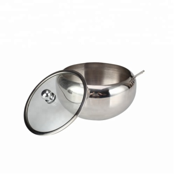 Stainless Steel Sugar Bowl with Clear Lid