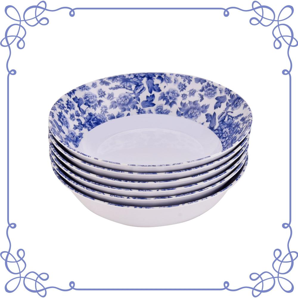 6 Inch Melamine Shallow Bowls Set of 6