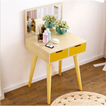 Furniture Portable makeup table wooden veneer mirrored dresser