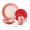 16 Piece Hand-painted dinner set-Red