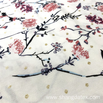 Branch Flower Spun Rayon Printed With Golden Foil