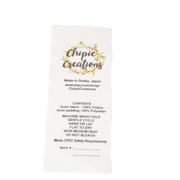 Printed polyester satin nylon clothing wash care labels