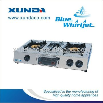 3 Burner Stainless Steel Gas Stove with Grill