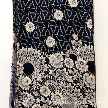30S Black Ground Rayon Discharge Print Soft Fabric