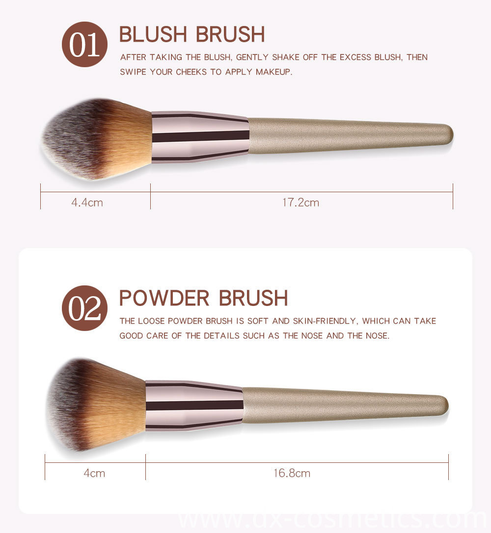 10 Piece Champagne Gold Makeup Brushes -1