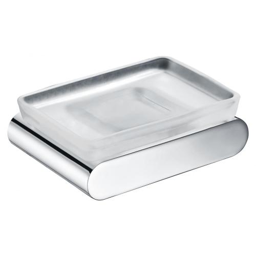 Sqaure chrome soap holder with frosted glass