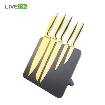 Gold Titanium Knife Set With Magnetic Knife Holder