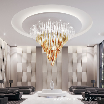 Restaurant banquet hall large gold luxury crystal chandelier