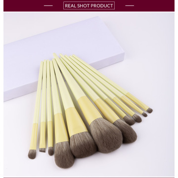unique Yellow bamboo makeup brush set