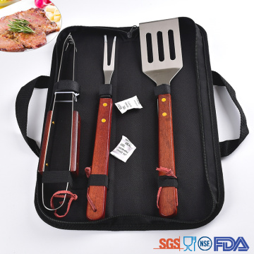 3PCs stainless steel wooden handle bbq tool set