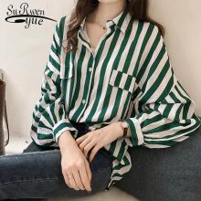 Fashion Womens Tops And Blouses 2020 Elegant Blouse Women Striped Blouse Shirt Long Sleeve Women Shirts Plus Size Tops 1728 50