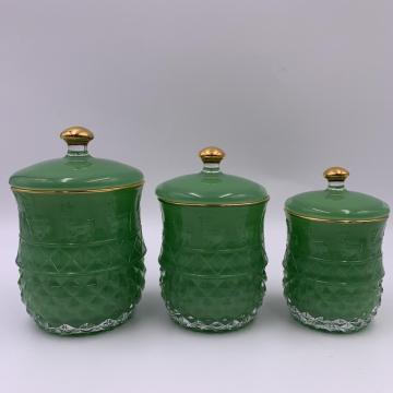 2020 Wholesale green glass jar set of 3