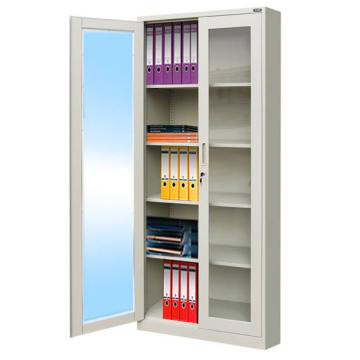 Glass door office file cabinet cupboard
