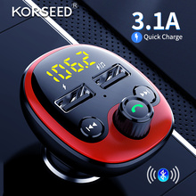 KORSEED Bluetooth FM Transmitter Handsfree For Car Car Kit MP3 Audio Player with Quick Charge mp3 player bluetooth car 12V